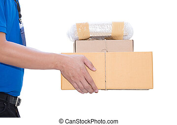 Delivery man holding a parcel box on white background