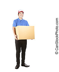 delivery man holding paper container box standing with smiling face isolate white background