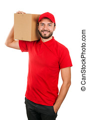 delivery man holding shipping box on the shoulder. isolated on white