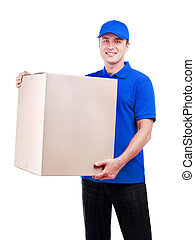 Delivery man in blue uniform with a parcel isolated on white