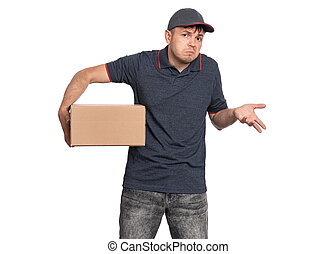 Delivery man in cap on white