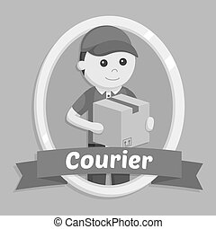Delivery man in courier emblem