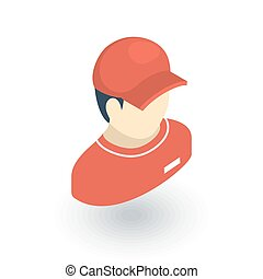 Delivery man in red uniform, courier isometric flat icon. 3d vector