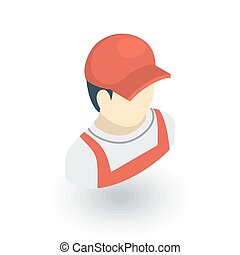 Delivery man in red uniform isometric flat icon. 3d vector