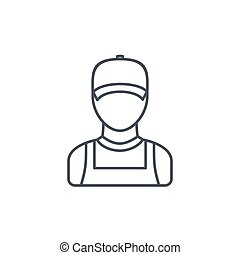Delivery man in red uniform thin line icon. Linear vector symbol