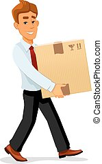 Delivery man is carrying a cardboard package