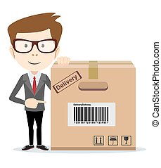 Delivery man is pointing to a box. Vector