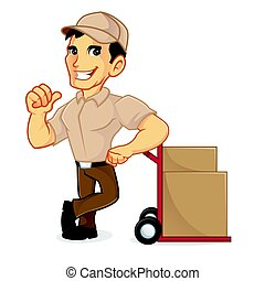 Delivery man leaning on packages and giving thumb up