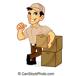 Delivery man leaning on packages