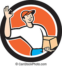 Delivery Man Okay Sign Parcel Circle Cartoon