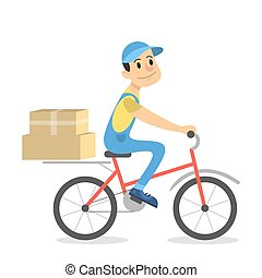 Delivery man on bicycle.