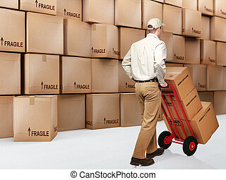 delivery man on duty - delivery man at work and 3d boxes ...