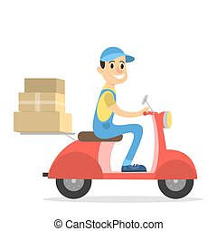 Delivery man on moped.