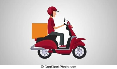 Delivery man on motorcycle HD animation - Courier delivering...