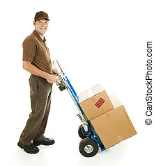 Delivery Man or Mover with Dolly - Profile view of a ...