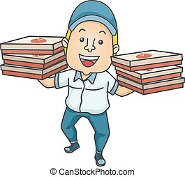 Delivery Man Pizza Boxes
