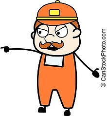 Delivery Man Pointing Finger Cartoon