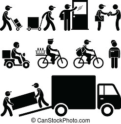 Delivery Man Postman Courier Post - A set of pictogram ...