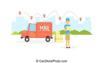 Delivery Man, Postman or Courier Delivering Parcels at Post Office Cargo Vehicle Vector Illustration