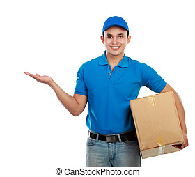Portrait of smiling delivery man with package presenting something on white background