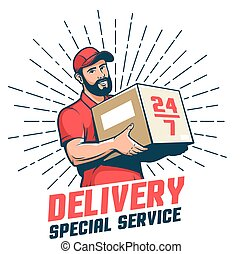 Delivery man retro logo. Bearded courier with parcel