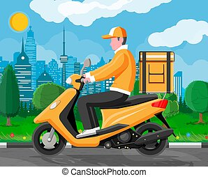 Delivery man riding motorbike scooter with the box