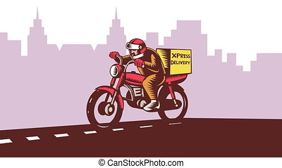 Delivery Man Riding Motorcycle Bike - 2d animation of a ...