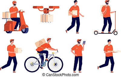 Delivery man. Service boy, courier package. Young postman on bike, male character with pizza. Employee holding box. Postal guys vector set