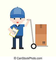 Delivery man, Set Profession character of people in uniform, flat design