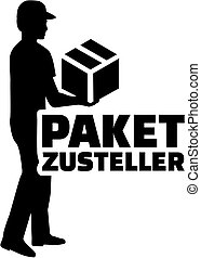 Delivery man silhouette with german job title