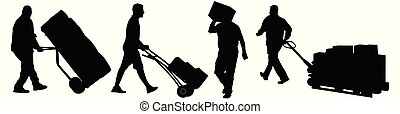Delivery man silhouettes carrying boxes