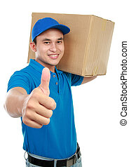 delivery man thumb up - smiling delivery man in blue uniform...