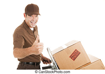 Delivery Man - Thumbs Up - Handsome delivery man with...