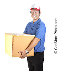 delivery man toothy smiling face and holding paper box container isolated white background