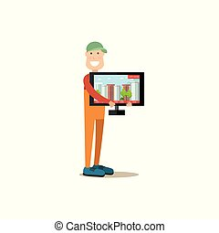 Delivery man vector illustration in flat style