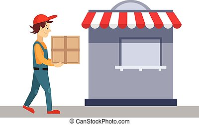 Delivery Man With a Cardboard Box, Vector Illustration