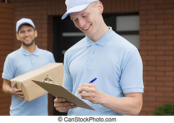 Delivery man with a package