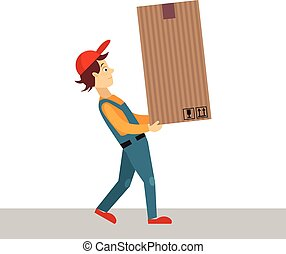 Delivery Man with Big Package, Vector Illustration