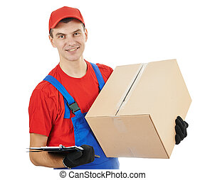 delivery man with box and cardboard
