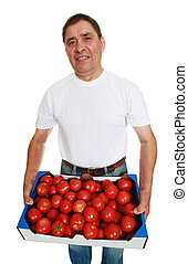 Delivery man with box of fresh tomatoes isolated on white.