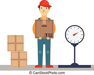 Delivery Man with Boxes and Scales, Vector Illustration