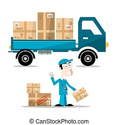 Delivery Man with Boxes on Car. Vector Flat Design Illustration Isolated on White Background.
