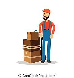 Delivery man with cardboard boxes on a trolley, courier in uniform at work cartoon character vector Illustration