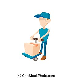 Delivery man with cart icon, cartoon style