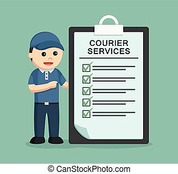 delivery man with courier services clipboard