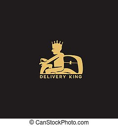 delivery man with crown and box vector.