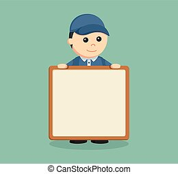 delivery man with empty board