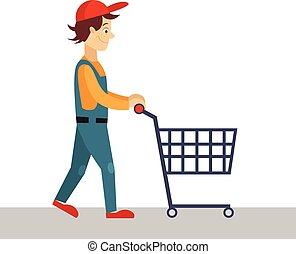 Delivery Man with Empty Cart, Vector Illustration