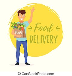 delivery man with fresh vegetables