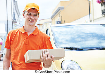 delivery man with package parcel